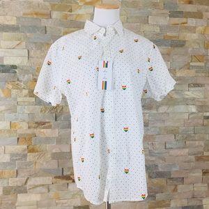 Denim & Flower Polka Dot Rainbow Heart Pride Shirt
